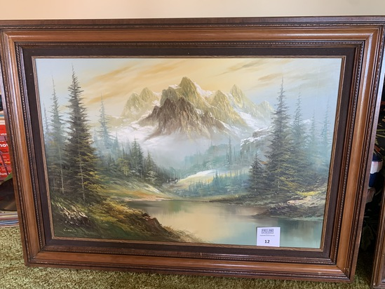 Large Signed Oil Painting Mountain Scene