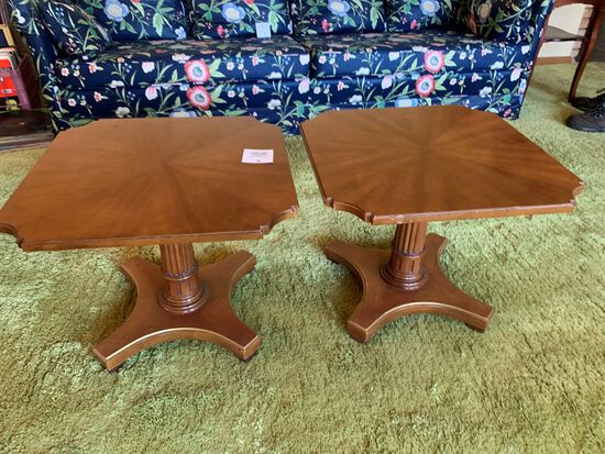 Pair Of Mid-century Pedastal Column Mahoghany Lamp Side Tables