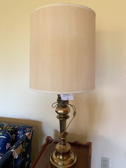 Fancy Brass Finish Mid-century Lamp With Original Shade