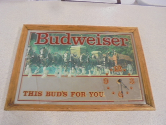 Mirrored Budweiser Clock
