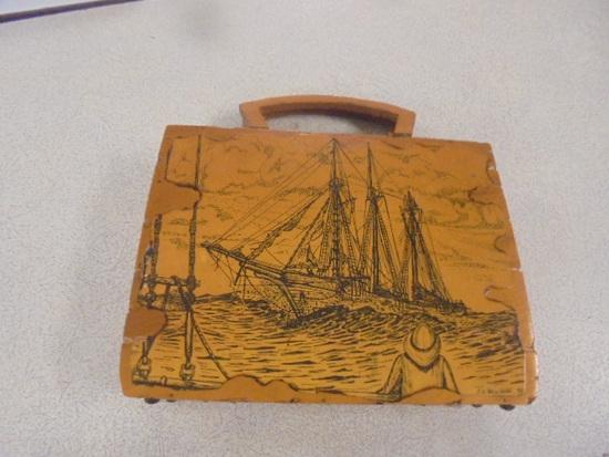 Handmade 1970s Wooden Purse