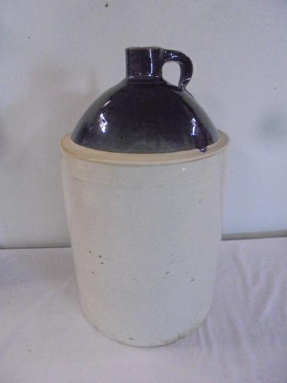 5 Gallon Brown Over White Crock Jug