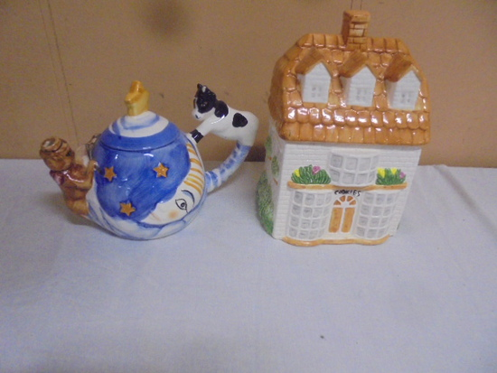 Cow Over the Moon Teapot and House Cookie Jar