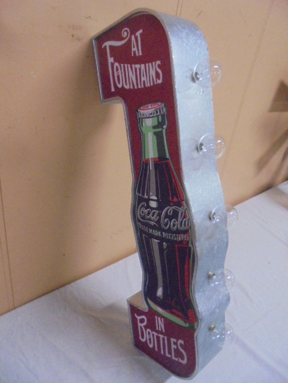 Galvanized Metal Coca-Cola Double Sided Lighted Flanged Sign