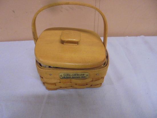 1996 Longaberger Hostess Appreciation Basket w/Lid,Liner, and Protector