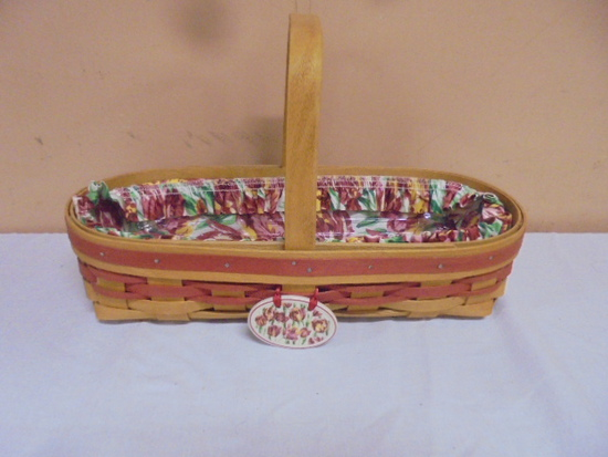 1995 Longaberger Basket w/Liner-Protector and Tie On