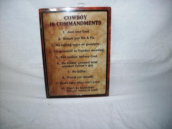 Cowboy 10 Commandments metal sign