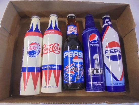 5 Unopened Collectible Pepsi-Cola Bottles