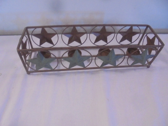 Metal Country Star 4 Tea Light Candle Holder