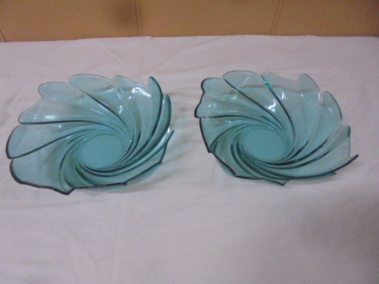 Pair of Art Glass Swirl Bowls