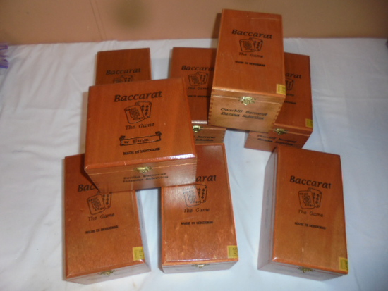 Group of 8 Wooden Cigar Boxes