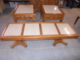3 Pc. solid Wood Marble Insert Coffee and End Table Set
