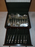 Place Setting For 8 Stainless Steel Flatware in Woodcase