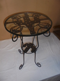 Iron Glass Top Side Table w/Cactus Design