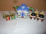 Cottage Tea Pot and 4 Salt and Pepper Shaker Sets