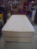 Twin Size Bed Complete w/Therapedic Backsense All White No Flip Mattress Set and Headboard
