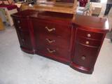 Antique Mahogany 9 Drawer Serpentine Front Dresser