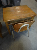 Child's Wooden Desk and Chair
