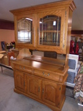 Beautiful Solid Oak Lighted Hutch w/Leaded Glass Doors on Top