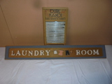 Dubl Handi Washboard and Wooden Laundry Sign