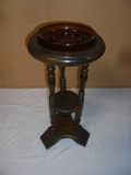 Wooden Smokers Stand w/ Glass Ashtray