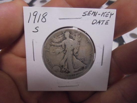 1918 S Mint Walking Liberty Half Dollar