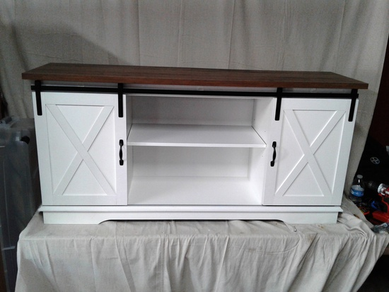White with wood top Entertainment stand