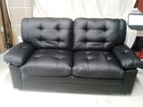 Black Faux Leather Apartment Sofa
