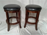 Pair of Cappuccino Colored Swivel Stools