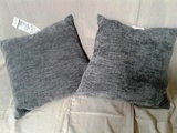Pair of Grey Flannel Throw Pillows