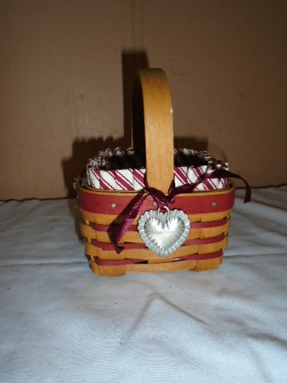1993 Longaberger Basket w/ Liner and Protector and Tie On