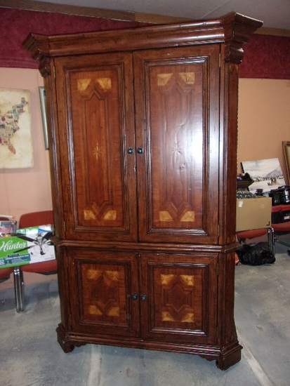 Beautiful Solid Wood Armoire w/ Shelf and Hanging Rod in Top + 3 Drawers and 2 Shelves in Bottom