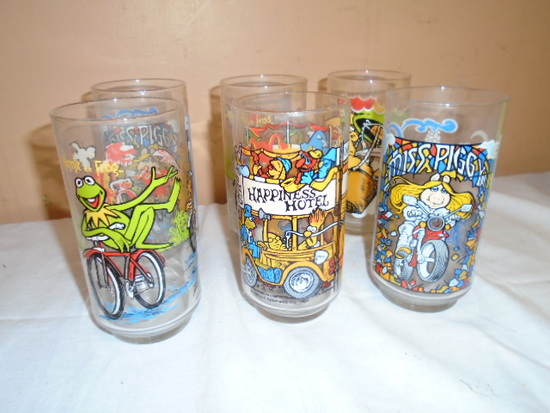 "Set of 6 Vintage ""Muppet"" Glasses"