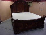 Beautiful Solid Wood Inlayed King Size Bed Complete w/ Tempurpedic Mattress Set