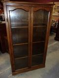Oak Double Glass Door Cabinet w/ 3 Shelves