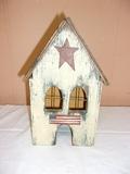 Lighted Wooden Bird House Décor Piece