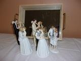 (5) Bella Novia Porcelain Bride and Groom Figures w/ Mirrored Tray