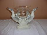 Double Wooden Bird Glass Flower Bowl Piece