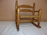 Solid Oak Cane Seat Doll Rocking Loveseat