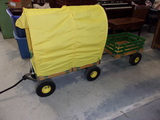 Wood Stateside Wagon w/ Pnuematic Tires and Cover w/ Tag a Long Matching Wagon