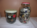 (2) Old Jars of Buttons