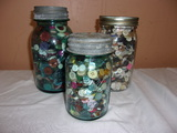 2 Old Quart and 1 Pint Jar of Buttons