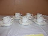 6pc Bone China Tea Cup and Saucer Set