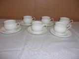 6pc Set of Bone China Tea Cup and Saucer