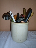 Crock w/ Knives and Kitchenware