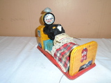 Vintage Tin Litho Battery Powered Sleeping Bear Toy