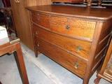 Antique Oak 4 Drawer Dresser on Casters
