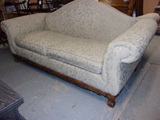 Beautiful Craftmaster Ivory Sofa w/ Wood Accent Trim&Ball and Claw Feet