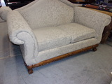 Beautiful Craftmaster Ivory Loveseat w/ Wood Accent Trim&Ball and Claw Feet