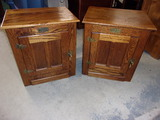 (2) Matching Solid Oak White Icve Box End Tables